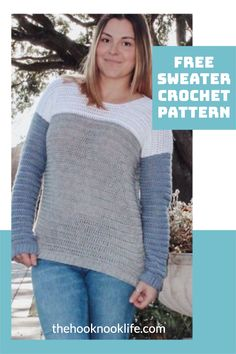 Make this cozy pullover sweater using the Free Pattern on The Hook Nook Life Blog Now! Modern Crochet Patterns, Knitting Patterns Free, Knit Patterns, Free Pattern, Crochet Tops, Hand Crochet, Crochet Stitches, Free Crochet, Double Crochet
