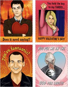 """Doctor Who  Rachelle Abellar has made a set of Doctor Who Valentines available as a """"Donate When You Want"""" download; check out the others on her website."""