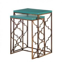 =turquoise & antique gold nesting tables X
