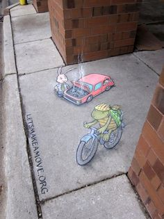 Zany Chalk Art by David Zinn - Pondly Murals Street Art, 3d Street Art, Amazing Street Art, Street Art Graffiti, Street Artists, Graffiti Artists, David Zinn, Chalk Artist, 3d Chalk Art