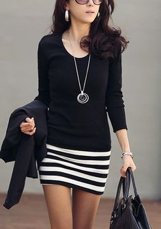 Luv to Look | Curating Fashion & Style: Street style black shirt and striped skirt