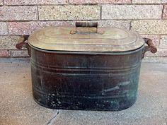 Antique Copper Boiler Copper Tub Primitive Copper Kettle Rustic Farmhouse Decor by Eclectiques Boutique