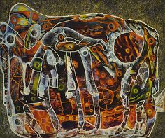 """Charles Seliger, Inner Space 1945 """"I want to apostrophize micro-reality. I want to tear the skin from life, and, peering closely, paint what I see. I want my brain to become a magnifying lens for the. Art Works, Study Artist, Cobra Art, Painting, Intuitive Art, Art, Abstract, Autumn Art, Abstract Expressionist"""