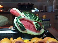 Kuramathi turtle Fruit Art, Maldives, Watermelon, Turtle, Carving, Food, The Maldives, Turtles, Tortoise
