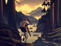 Riding a bycicle in the forest illustration Attractions In Seattle, Cl Design, Amoled Wallpapers, Bike Illustration, Forest Illustration, Landscape Artwork, Minimalist Wallpaper, Tatoo Art, Bicycle Art