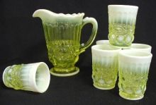 """This Vaseline Opalescent 7 Piece Full Size Juice Set is from an old L.G. Wright mould and is the """"Eyewinker"""" Pattern. The set consists of 1 Pitcher (8″ in height) and 6 Tumblers (3 3/4″ in height). They are American Handmade Glassware. They are made with Uranium and will glow under a black light.    The """"key word"""" here may be """"mold"""".  Beware."""