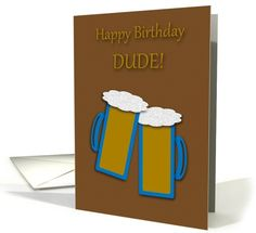 Birthday Toasting Beer Mugs - For HIm card