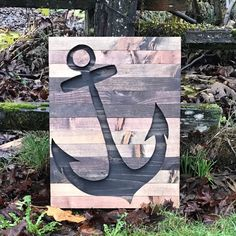 Rustic Wood Anchor Silhouette Wall Art by Bayocean Rustic Design