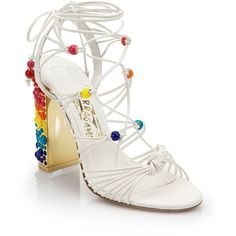 Salvatore Ferragamo Rainbow Leather Lace-Up Gladiator Sandals featuring polyvore women's fashion shoes sandals apparel & accessories lace up sandals roman sandals greek sandals gladiator sandals block heel sandals