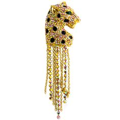 Butler & Wilson Crystal Leopard with Tassels Brooch featuring Swarovski crystal, it fastens with a post pin and revolver fastener.