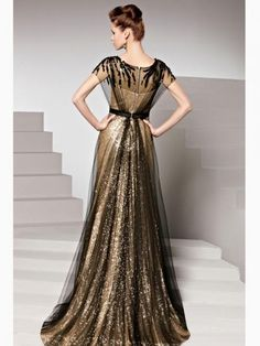 Column Color block Sweep train Sleeveless Beading Sequin Evening gown