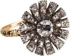 Olivia Collings Antique Jewelry Silver Diamond Carnation Ring