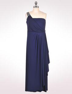 One shoulder strap long dress