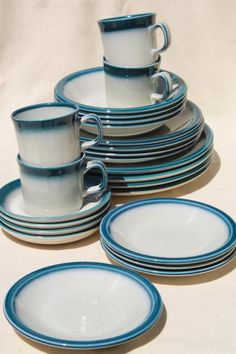 Awesome Vintage Wedgwood Dinnerware Set For 4, Blue Pacific Oven To Table Casual  China