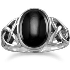 Oval Black Onyx Ring with Celtic Sides ($41) ❤ liked on Polyvore featuring jewelry, rings, celtic band ring, celtic jewellery, oval ring, black onyx rings and celtic jewelry
