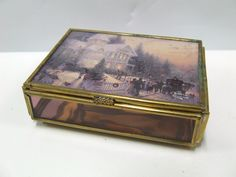 Thomas Kinkaid Stained Glass Trinket Box with Papers Made in Mexico for Enesco