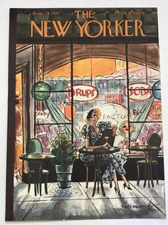 The NEW YORKER Magazine very rare original cover - June 1935 - Lady Sitting on Terrace - by Barbara Shermund by VeryVintageFinds on Etsy The New Yorker, New Yorker Covers, Vintage Italian, Vintage Ads, Ad Art, Canvas Prints, Art Prints, Magazine Art, Magazine Covers