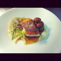 Roast Snapper fillet, celeriac purée, Swiss browns, rainbow radish at Comme