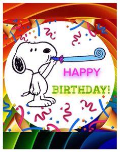 "Snoopy says, ""HAPPY BIRTHDAY!""."