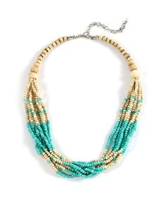 Beach Babe Beaded Necklace - Beige and Turquoise  $8