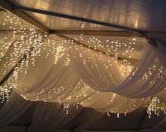 Draped fabric + fairy lights via Ambient Lighting / Wedding Style Inspiration / LANE