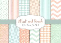 Peach and mint patterns by The little cloud on @creativemarket