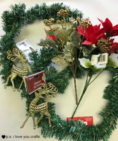 Make a Dollar Tree Christmas Wreath using christmas ornaments and floral pics from Dollar Tree's Christmas section. You will love it!