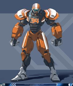 "If there where really a sport involving gigantic mecha like these ""american football"" theemed mechs, I would be a FANATIC!!! Art of Tom Zhao"