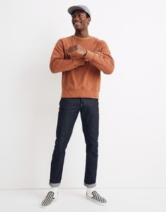 In a number of Garment-Dyed Crewneck Sweatshirt Casual Outfit Men, Mens Fall Outfits, Stylish Mens Outfits, Men Casual, Men's Casual Fall Fashion, Mens Casual Street Style, Black Guy Fashion, Stylish Clothes For Men, Fashion Boots