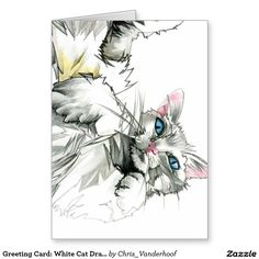 Greeting Card: White Cat Drawing Greeting Card