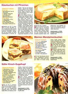 Käsekuchen mit Pfirsichen Marmor-Mandarinen Kuchen Kirsch-Gugelhupf