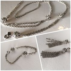 Sarah Coventry Rhinestone Demi Parure Double Chain Necklace
