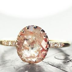 1.06 carat peach/champagne diamond ring in yellow gold.  chincharmaloney.com