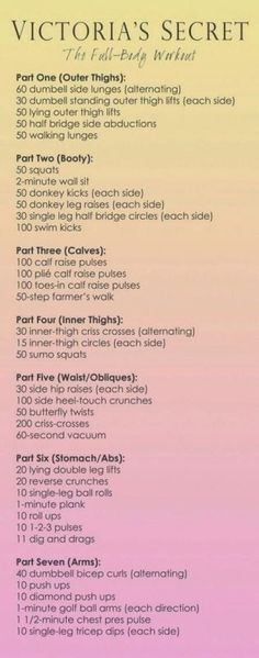 Victoria Secret Workout – Do each circuit 2-3x (do the first 4 circuits one day, the next three another day, and do the whole thing twice one day)