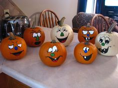 painted pumpkin faces by nancy Pumpkin Face Paint, Pumpkin Art, Pumpkin Crafts, Fall Crafts, Holiday Crafts, Pumpkin Ideas, Pumpkin Painting, Pumpkin Carvings, Kids Crafts