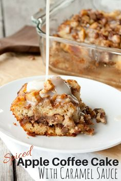 Grain Free Spiced Apple Coffee Cake with Caramel Sauce | simplerootswellness.com