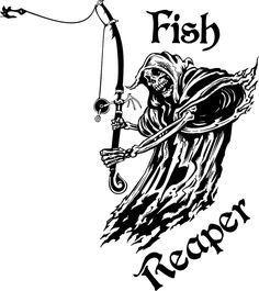 New Fish Grim Reaper Fishing Rod Hook Car Boat Truck Window Vinyl Decal Sticker