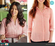 Jane's coral striped button front shirt on Jane the Virgin.  Outfit Details: http://wornontv.net/52972/ #JanetheVirgin