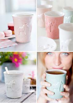 Dala horse ceramic mugs from swedish designer mia blanche