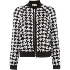 Michael Kors Houndstooth sequin bomber jacket (4.467.590 VND) ❤ liked on Polyvore featuring outerwear, jackets, coats, blazer, bomber jackets, black, clearance, houndstooth blazer, blazer jacket and sequin bomber jacket