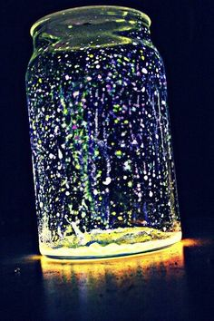 Faries in a jar. I will be trying this with wine bottles. Glow sticks cut open and dumped into a jar with glitter. What an inexpensive idea for summer lights on the patio. - tomorrows adventures