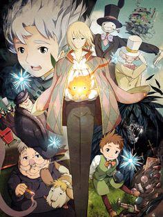 """Personajes de la pelicula de animacion japonesa """"El Castillo Ambulante, basada en el libro de Diana Wynne Jones con el mismo titulo."""