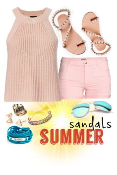 """Cute Summer Sandals"" by westcoastcharmed on Polyvore featuring Elina Linardaki, H&M, Shourouk, Blooming Lotus Jewelry, Ray-Ban, Aéropostale, Exclusive for Intermix and summersandals"