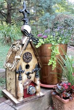Rustic Birdhouse with Dragonfly