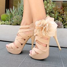 Women's Wedding Shoes Fall Fashion 2017 Holiday Party Outfit Thanksgiving Outfit Beige Open Toe Platform Flora Hollow Out Stiletto Heels Wedding Shoes Edgy Wedding Dresses Shoes Mermaid Wedding Dress Heels for Wedding, Big day Wedding Shoes Heels, Prom Shoes, Dress Shoes, High Heels For Prom, Bridesmaid Shoes, Bridesmaids, Pretty Shoes, Beautiful Shoes, Gorgeous Heels