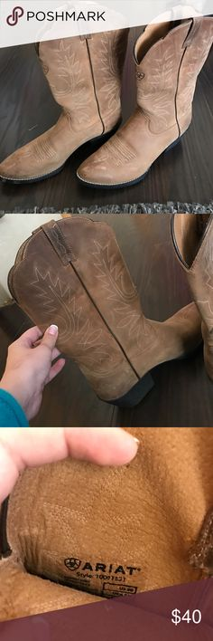 Ariat Cowboy Boots These are a women's 9, I'm an 8.5 but like to wear my boots with thicker socks so these are perfect! They've been worn once. Some scuffing on heel and toe but could easily be removed with polish. Cute scalloping detail at top of boot. And did I mention sooo comfortable? Ariat Shoes Heeled Boots