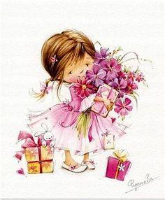 FEECHKI (pictures for decoupage) - Decoupage - Country Mom Birthday Greetings, Birthday Wishes, Happy Birthday, Girl Birthday, Illustration Mignonne, Cute Illustration, Decoupage, Cute Images, Cute Pictures