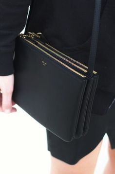 Black leather bag with trio zipper detail 3c44eb13f8c80