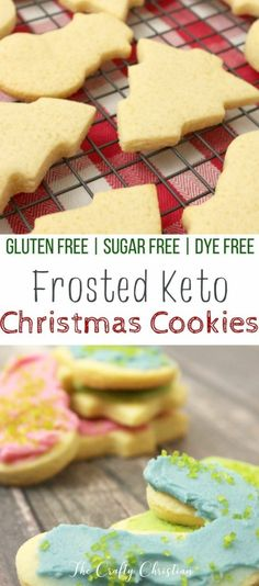 to indulge in a little bit of Christmas spirit without completely derailing your healing Look no further than these Frosted Keto Christmas Cookies to hit the spot without making you hit a wall! via craft_christian Desserts Keto, Keto Friendly Desserts, Sugar Free Desserts, Keto Snacks, Dessert Recipes, Cookie Recipes, Breakfast Recipes, Diet Breakfast, Cookie Ideas