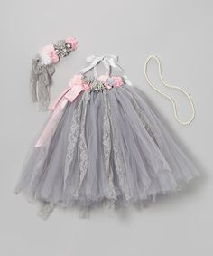 Take a look at this Pink & Gray Tutu Dress Set - Infant, Toddler & Girls on zulily today!